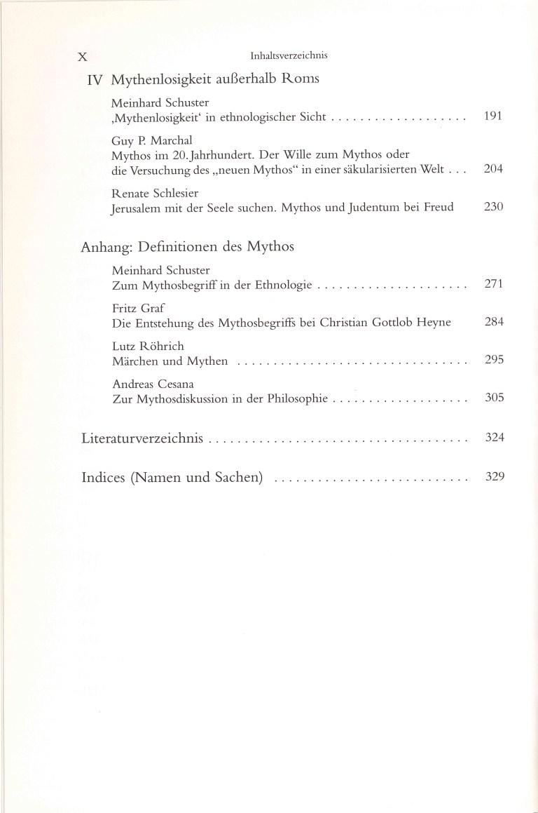 Mythen in mythenloser Gesellschaft - Inhalt Seite 2