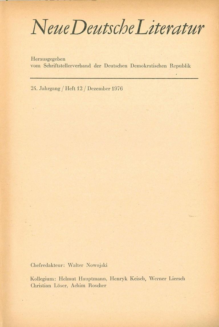 Neue deutsche Literatur - 1976/12 - Impressum