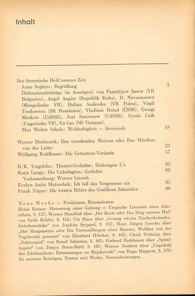 Neue deutsche Literatur - 1976/12 - Inhalt