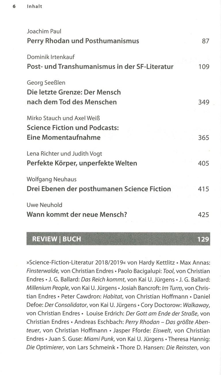 Science Fiction Jahr 2019 - Inhalt Seite 2