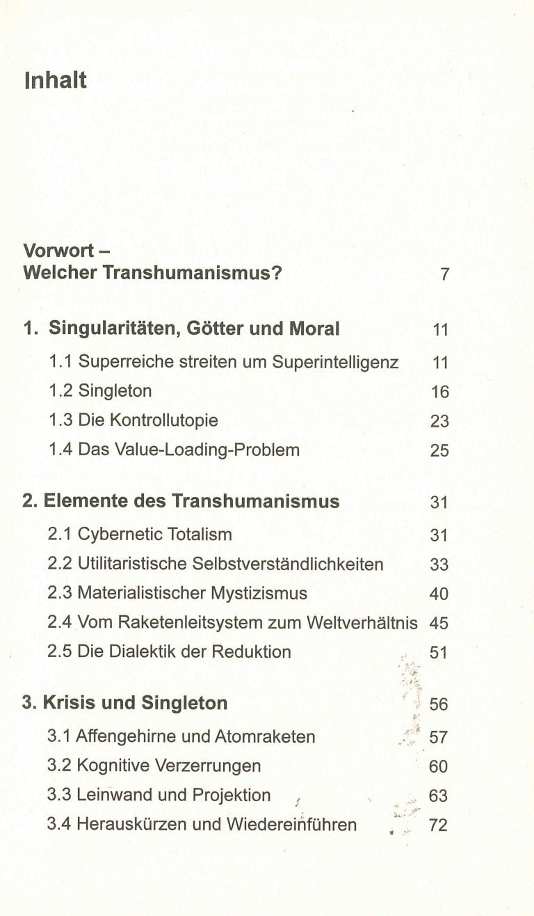 Transhumanistische Mythologie - Inhalt Seite 1