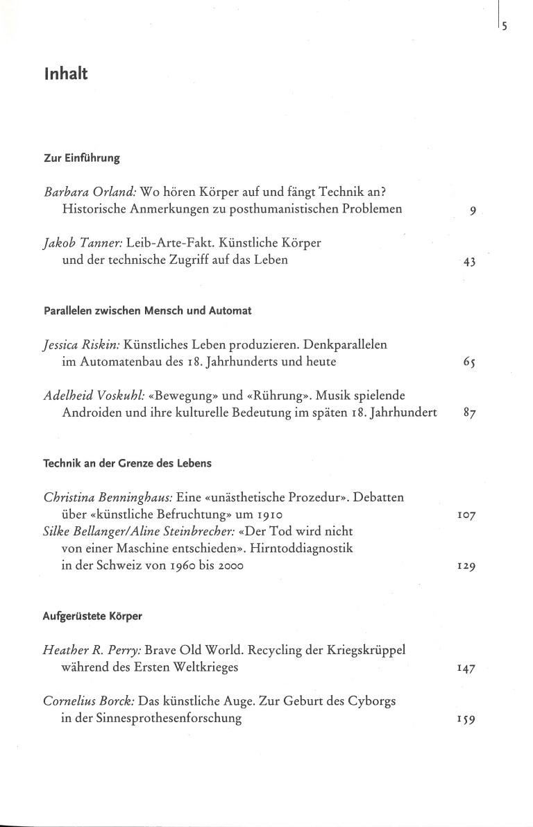 Artifizielle Körper-Lebendige Technik - Inhalt Seite 1
