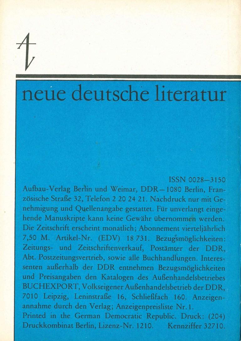 Neue deutsche Literatur, 2/83 - Rückencover