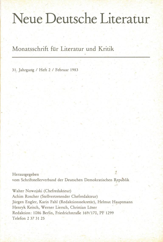 Neue deutsche Literatur, 2/83 - Impressum