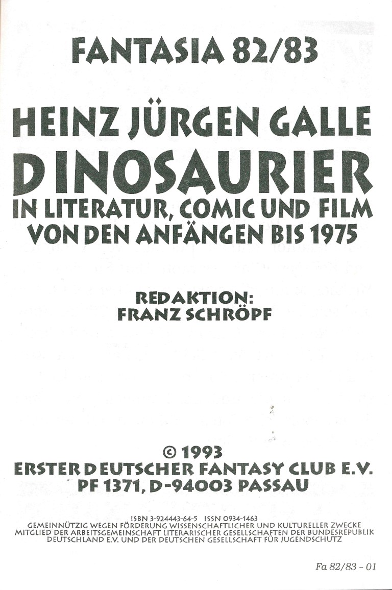 Fantasia 82/83: Dinosaurier - Impressum