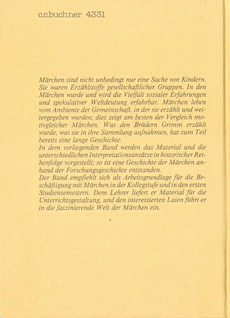 Märchen - Rückencover