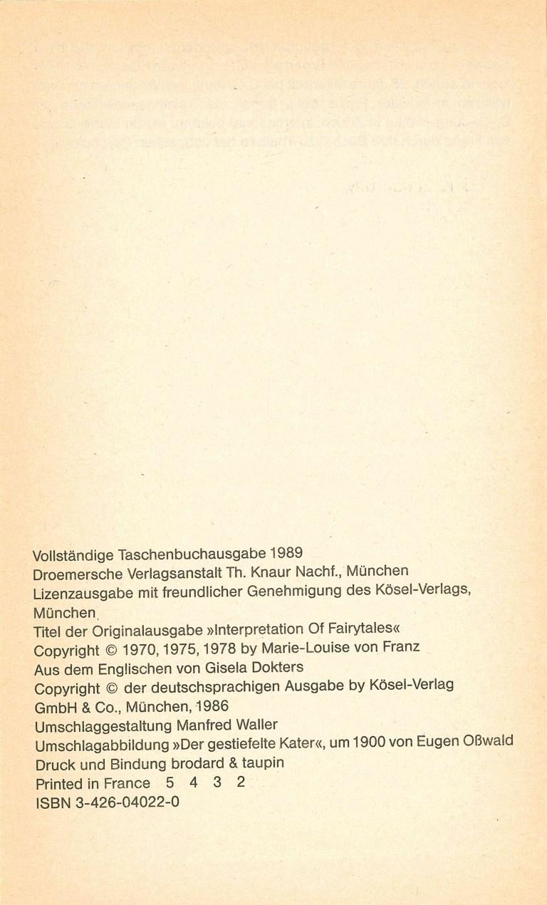 Psychologische Märcheninterpretationen - Impressum