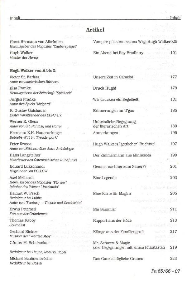 Hugh Walker - Inhalt Seite 1