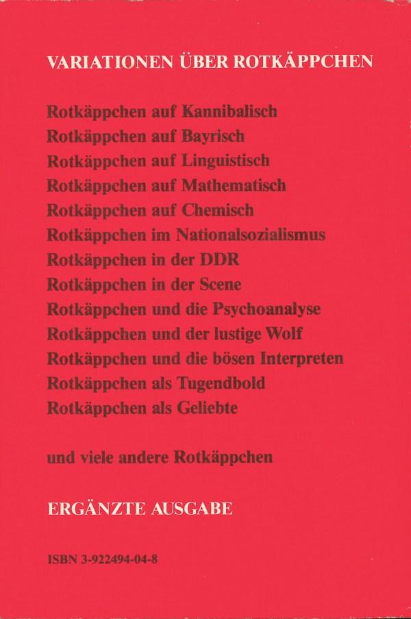Die Geschichte vom Rotkäppchen - Rückencover