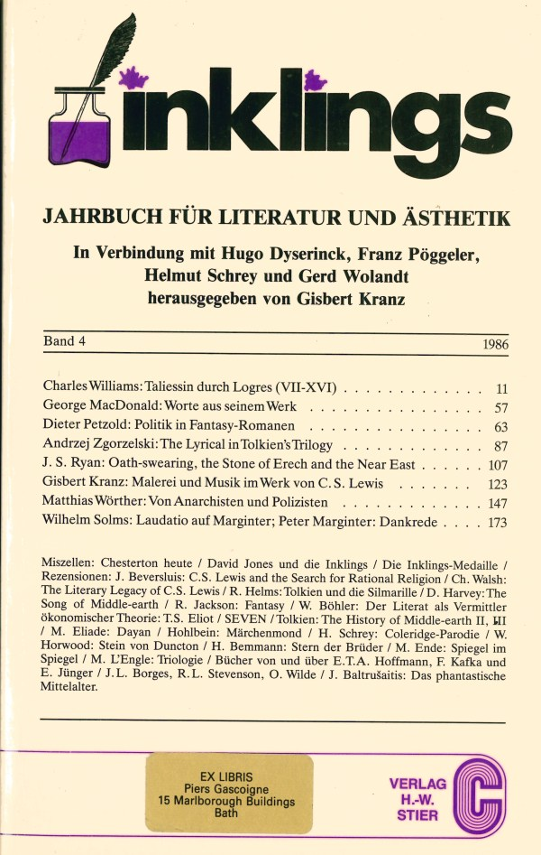 Inklings-Jahrbuch, Band 4 - Titelcover