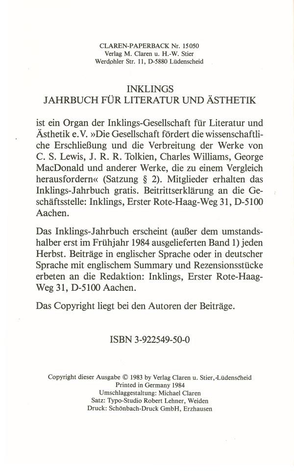 Inklings-Jahrbuch, Band 1 - Impressum