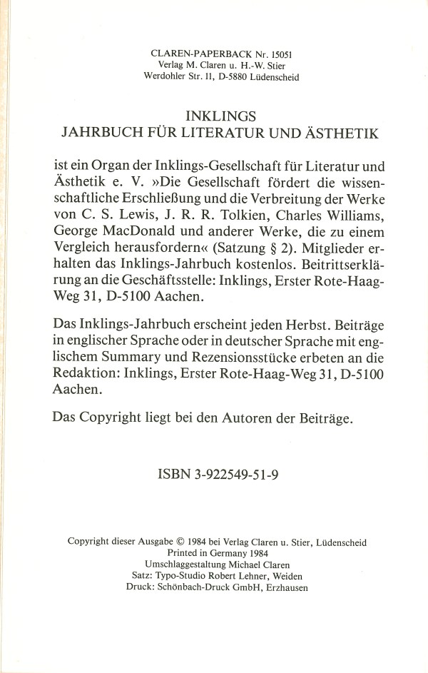 Inklings-Jahrbuch, Band 2 - Impressum