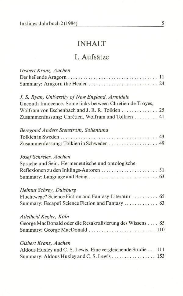 Inklings-Jahrbuch, Band 2 - Inhalt Seite 1