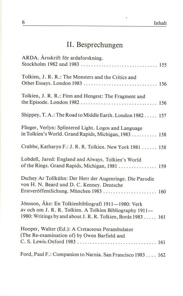 Inklings-Jahrbuch, Band 2 - Inhalt Seite 2