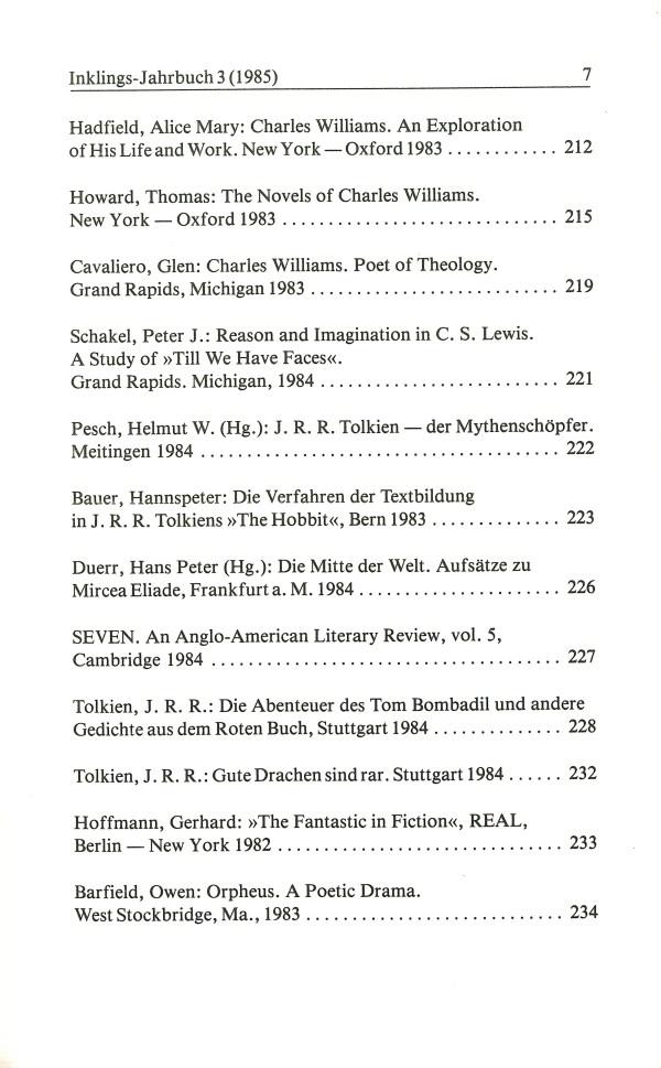 Inklings-Jahrbuch, Band 3 - Inhalt Seite 3