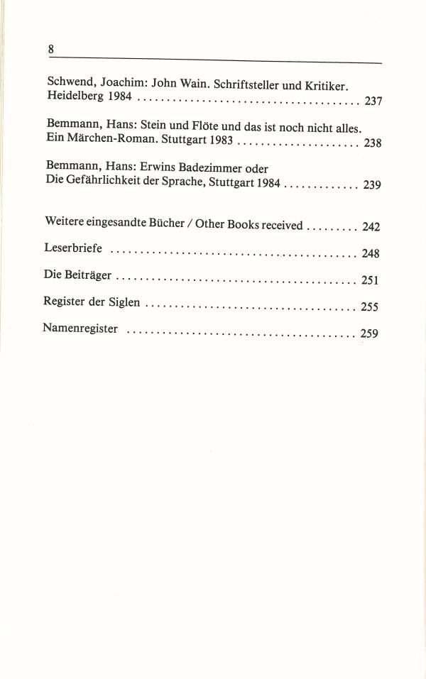 Inklings-Jahrbuch, Band 3 - Inhalt Seite 4