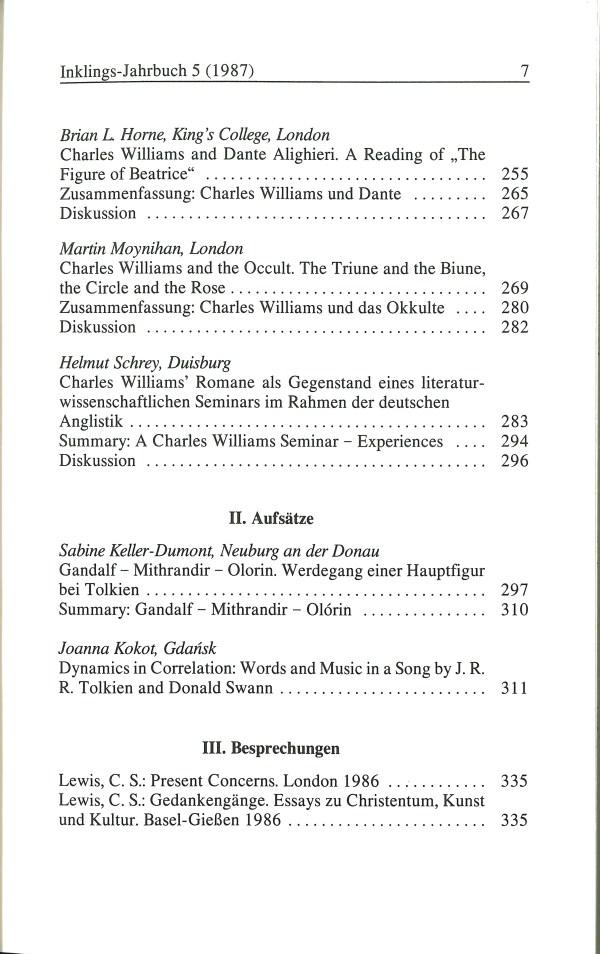 Inklings-Jahrbuch, Band 5 - Inhalt Seite 3