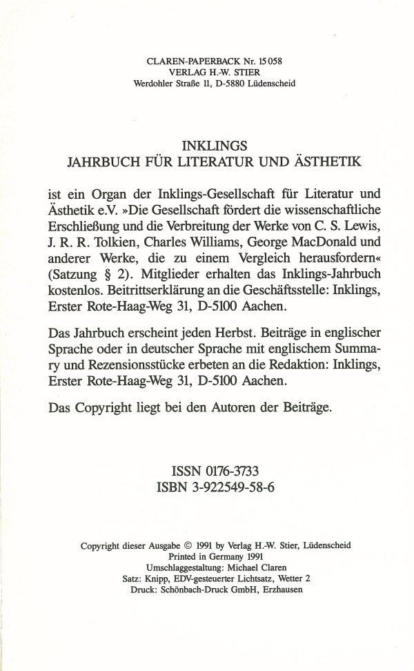 Inklings-Jahrbuch, Band 9 - Rückencover