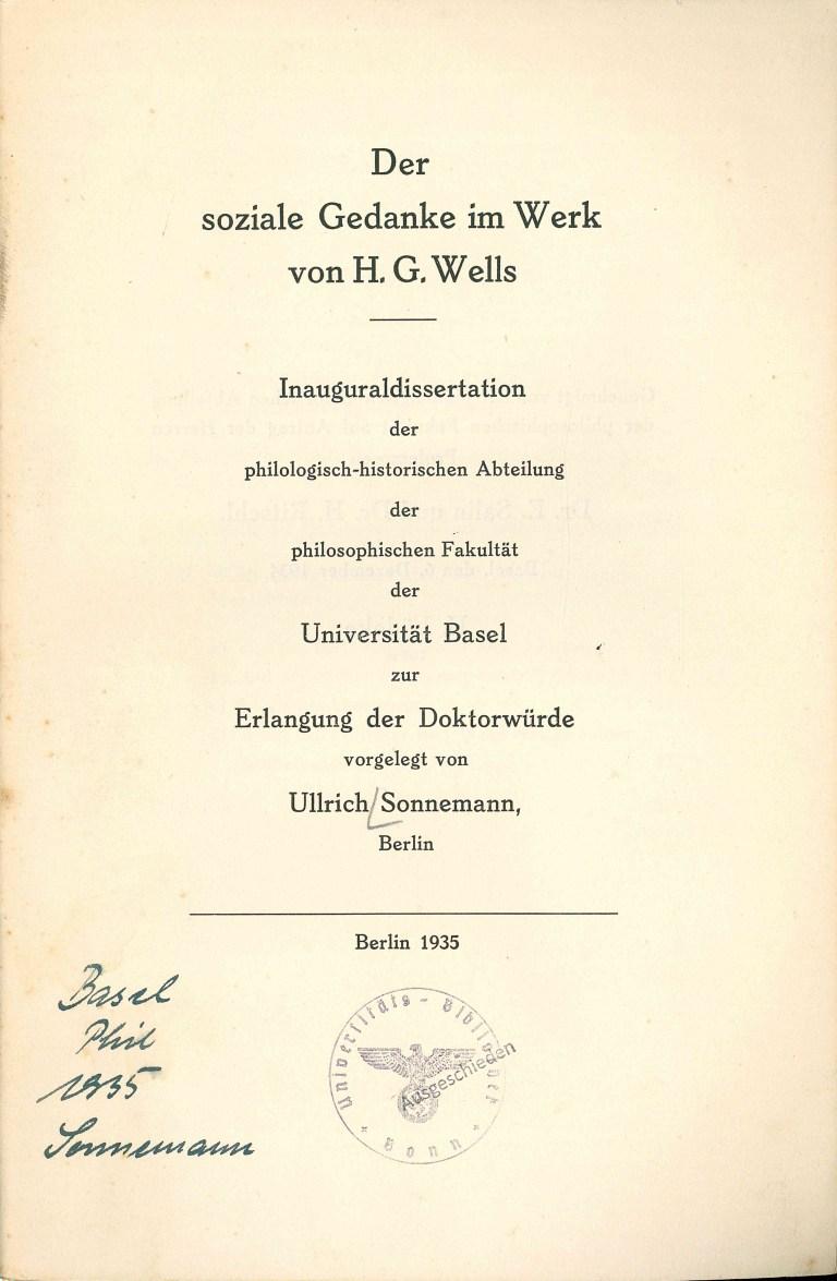 Der soziale Gedanke im Werk von H. G. Wells - Titelcover