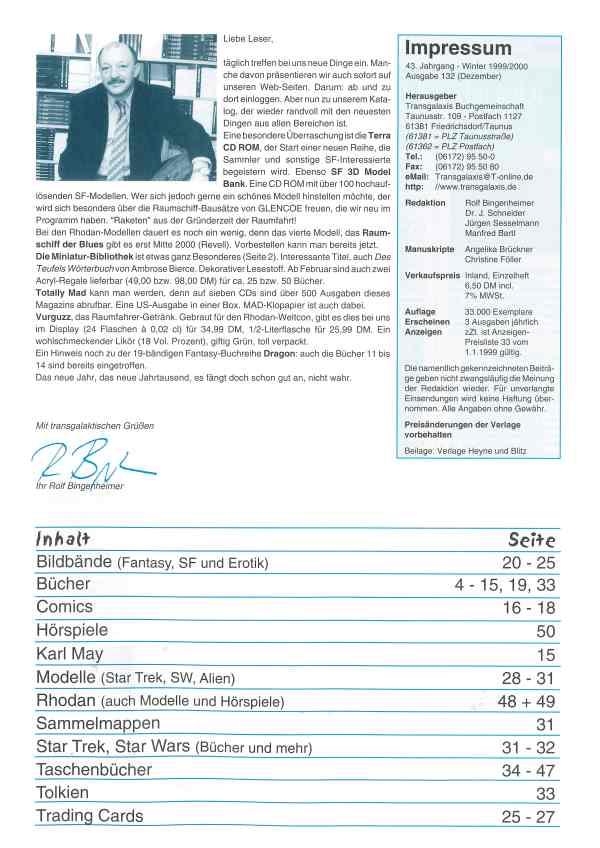 Transgalaxis, Nr. 132, Winter 1999/2000 - Impressum und Inhalt