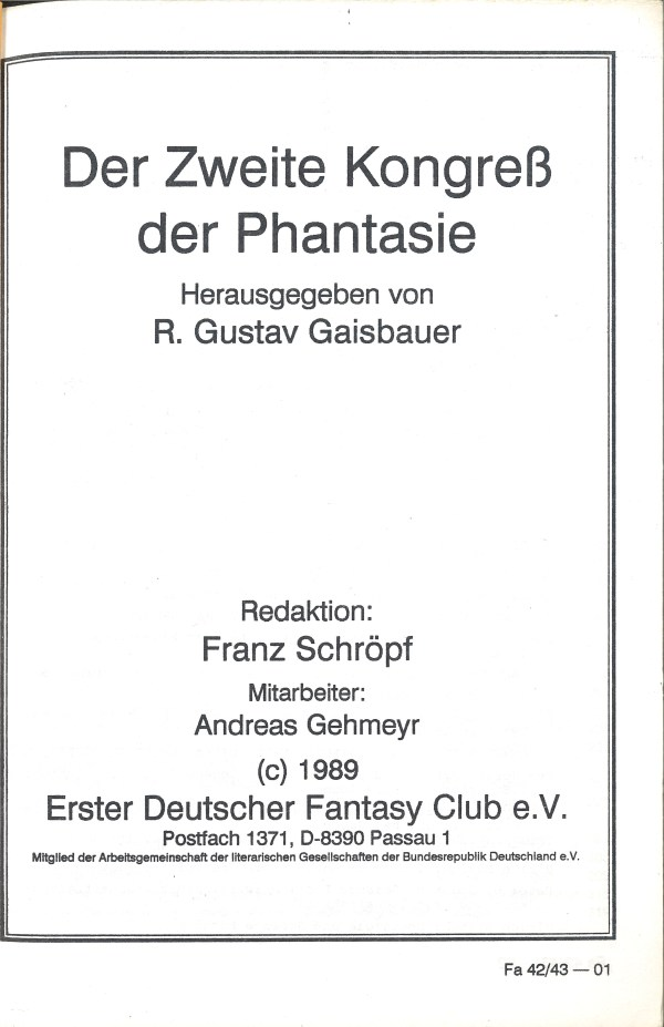 Fantasia 42-34, 2. Kongress - Impressum