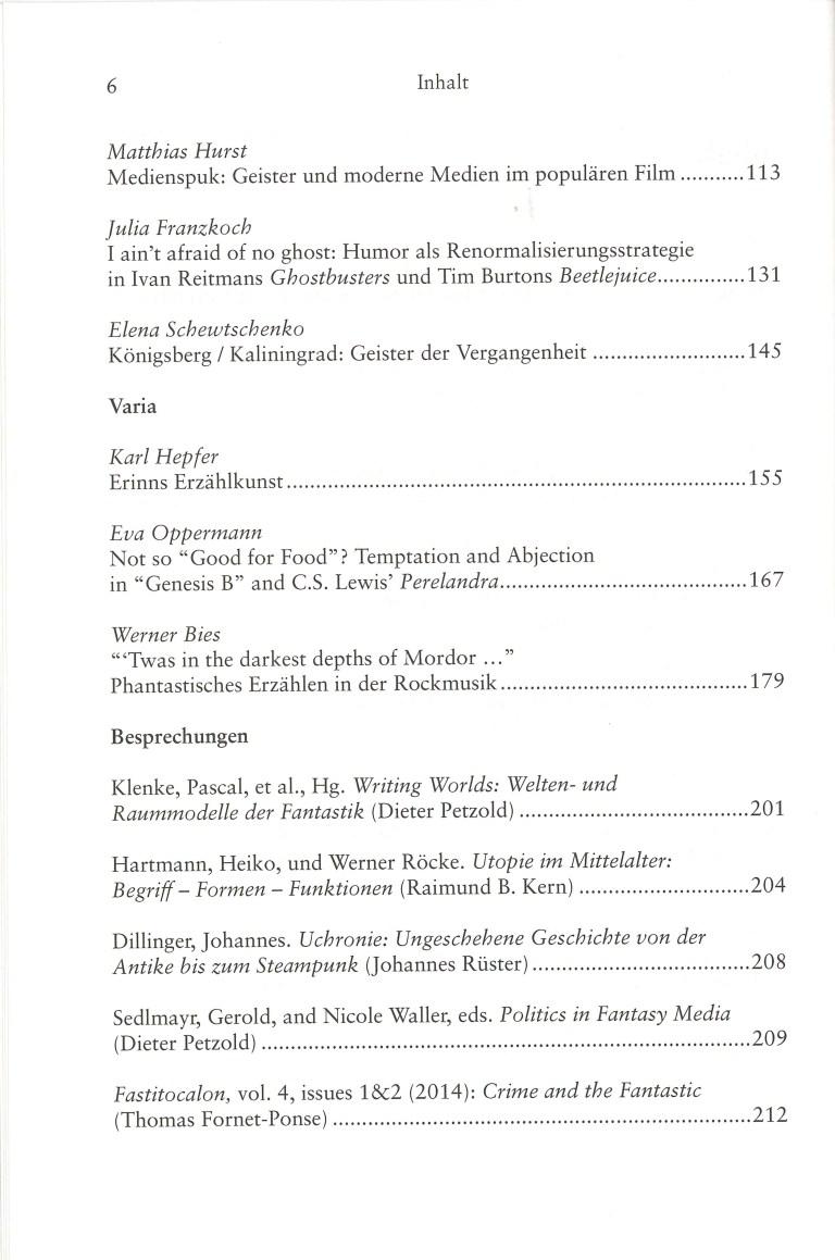 Inklings-Jahrbuch, Band 33 - Inhalt Seite 2