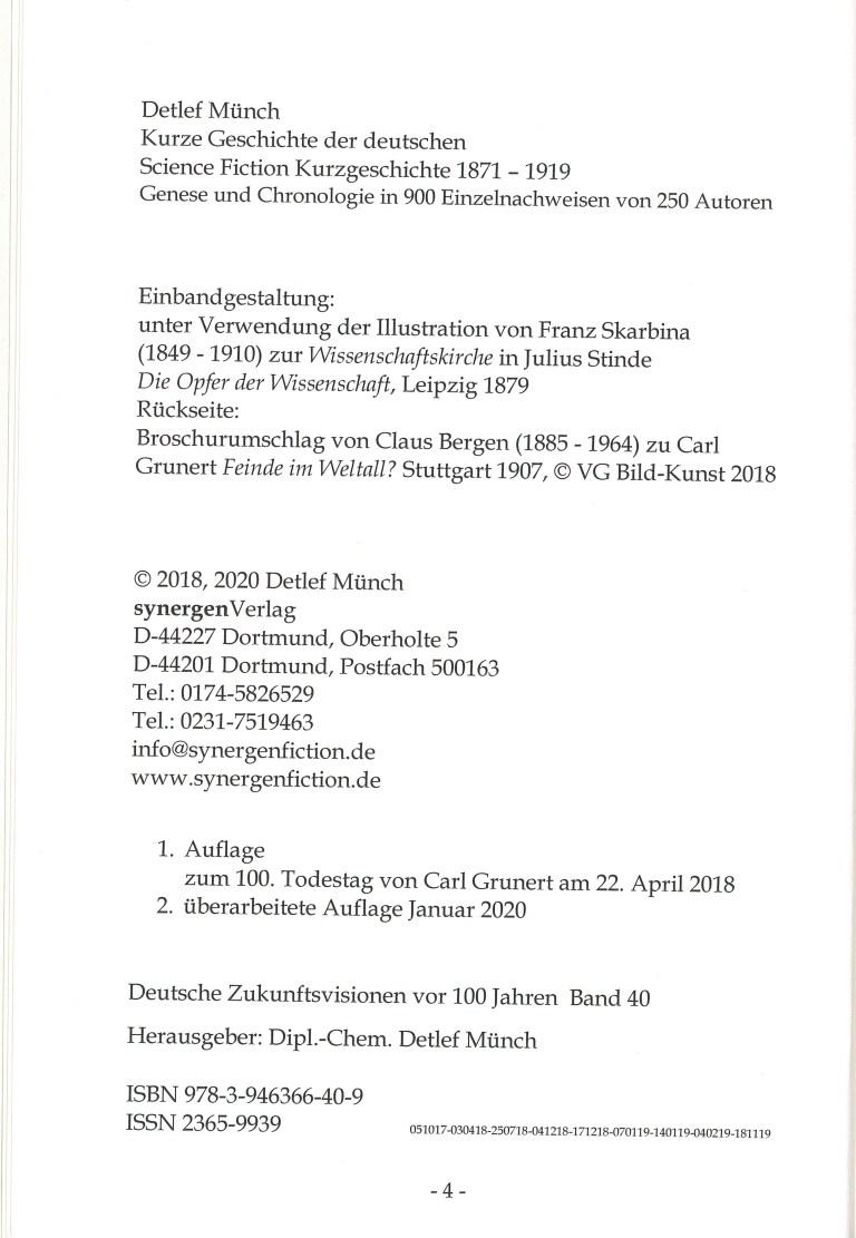 Kurze Geschichte der deutschen SF-Kurzgeschichte 1871-1919 - Impressum