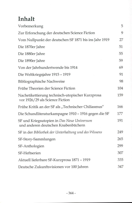 Kurze Geschichte der deutschen SF-Kurzgeschichte 1871-1919 - Inhalt