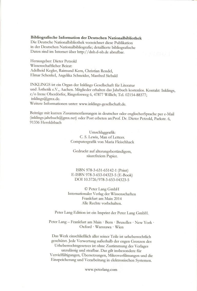 Inklings - Jahrbuch, Nr. 31 - Impressum