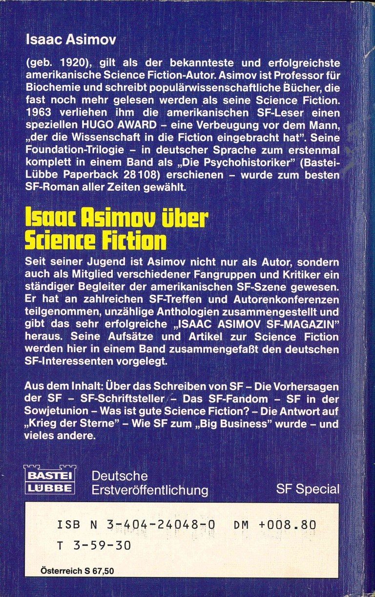 Isaac Asimov über Science Fiction - Rückencover