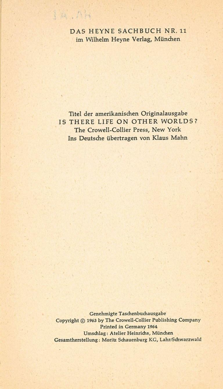 Gibt es Leben auf anderen Welten? - Impressum