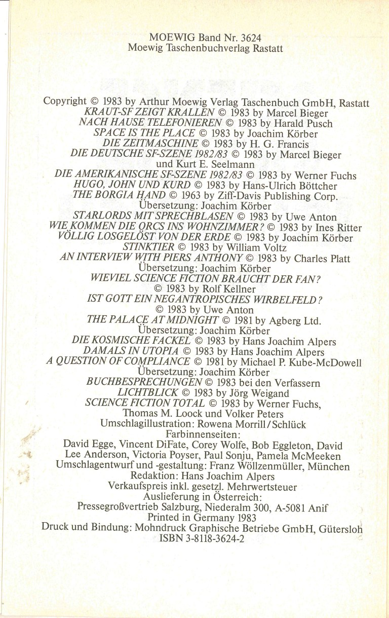 Science Fiction Jahrbuch 1984 - Impressum