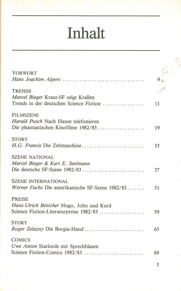 Science Fiction Jahrbuch 1984 - Inhalt Seite 1
