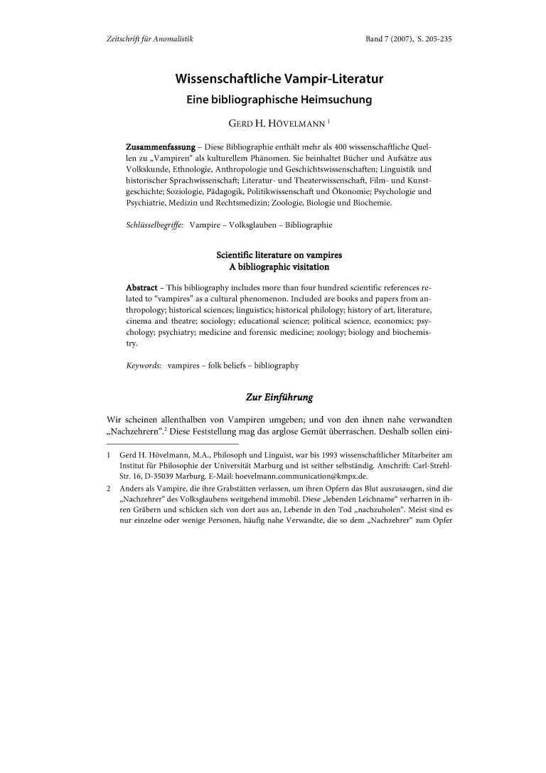 Wissenschaftliche Vampir-Literatur - Titelcover
