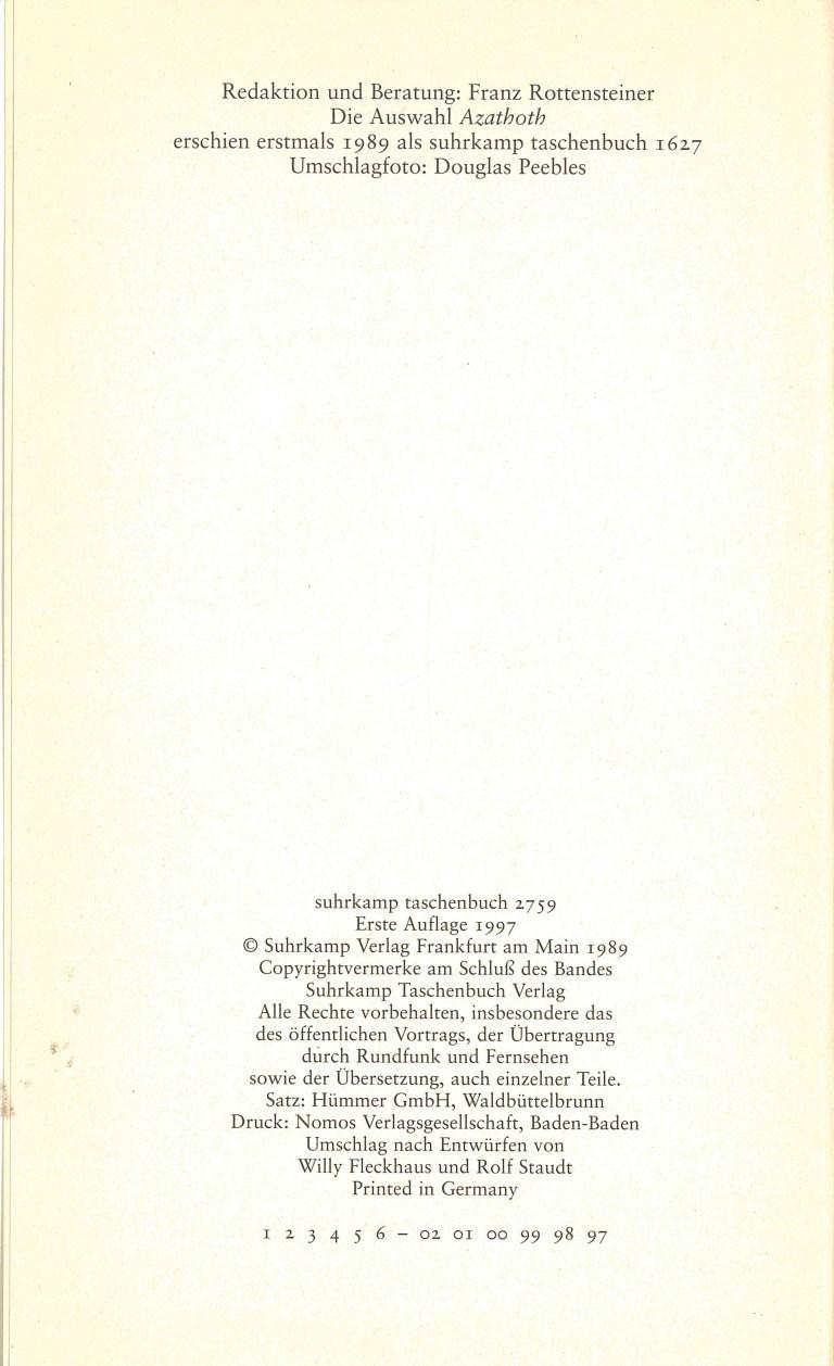 Azathoth (PhB 349) - Impressum
