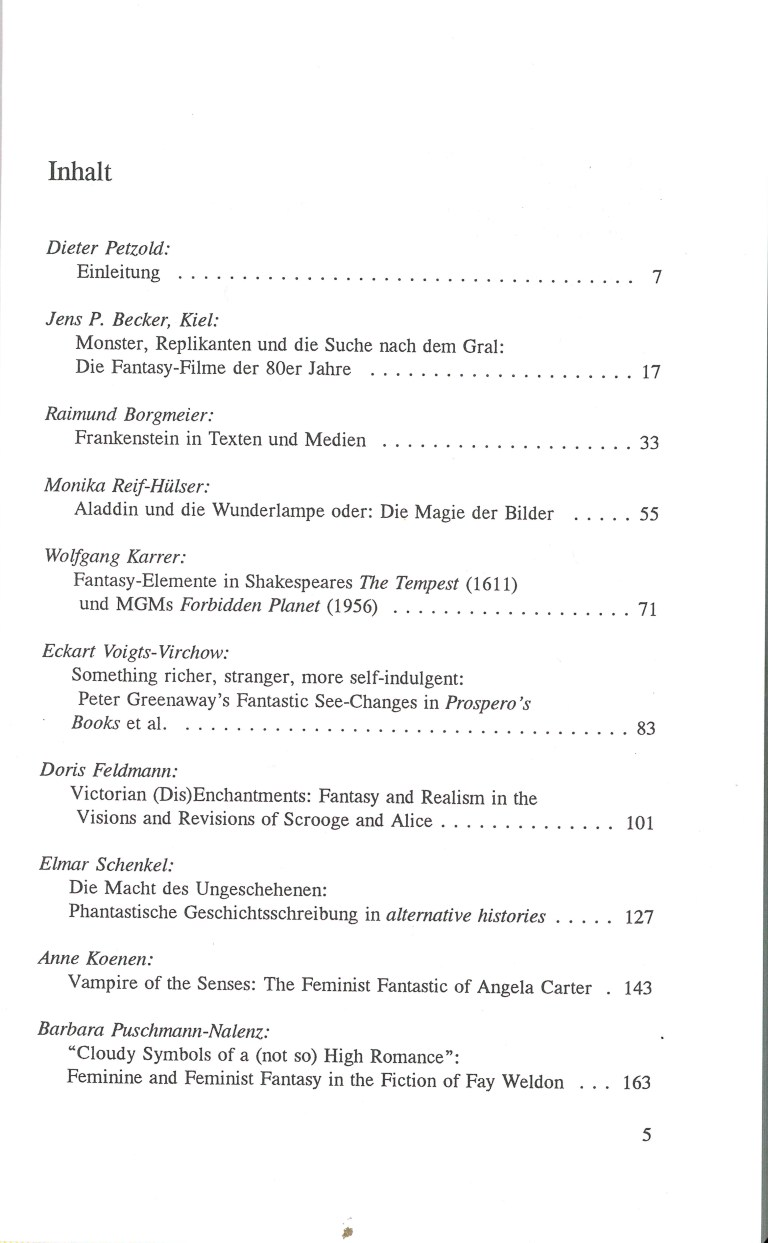 Fantasy in Film und Literatur - Inhalt Seite 1