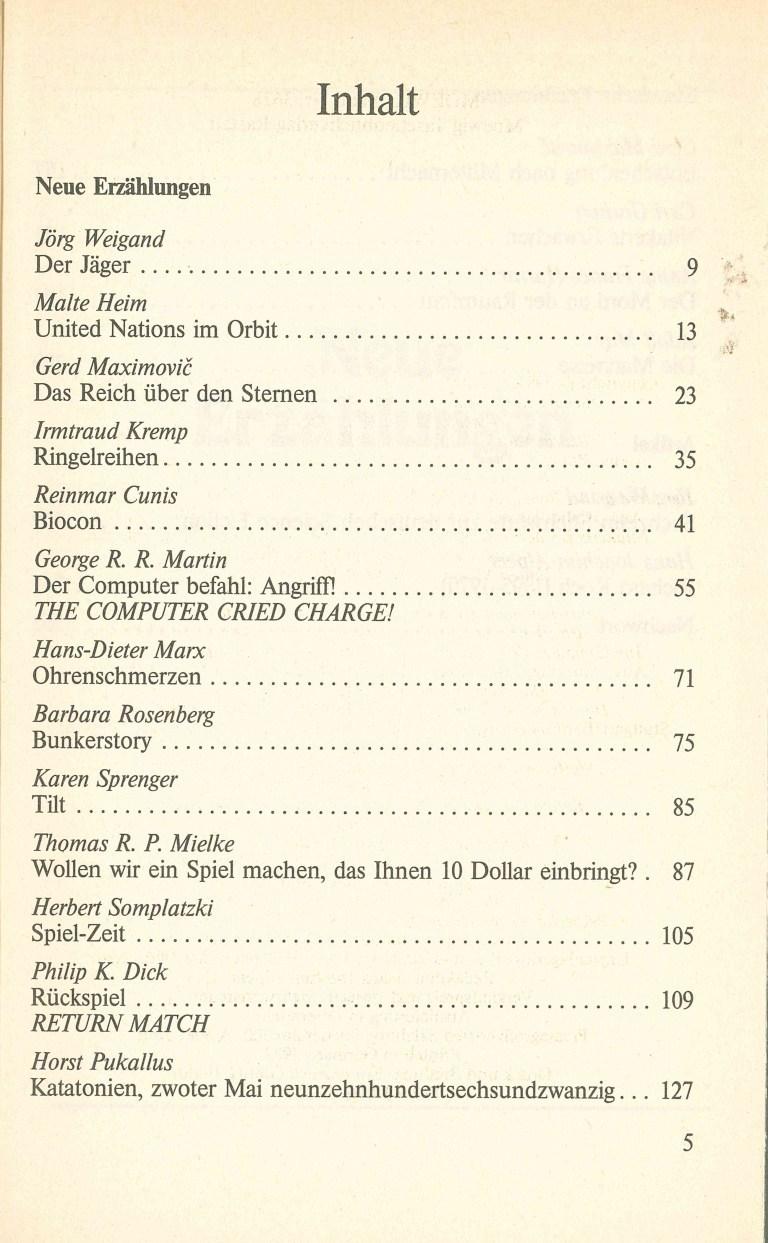 Science Fiction Almanach 1984 - Inhalt Seite 1