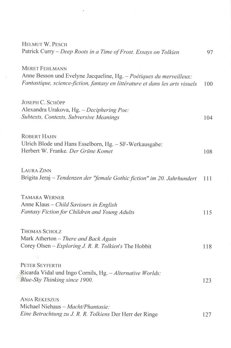 Zeitschrift für Fantastikforschung, 2/2016 - Inhalt Seite 2