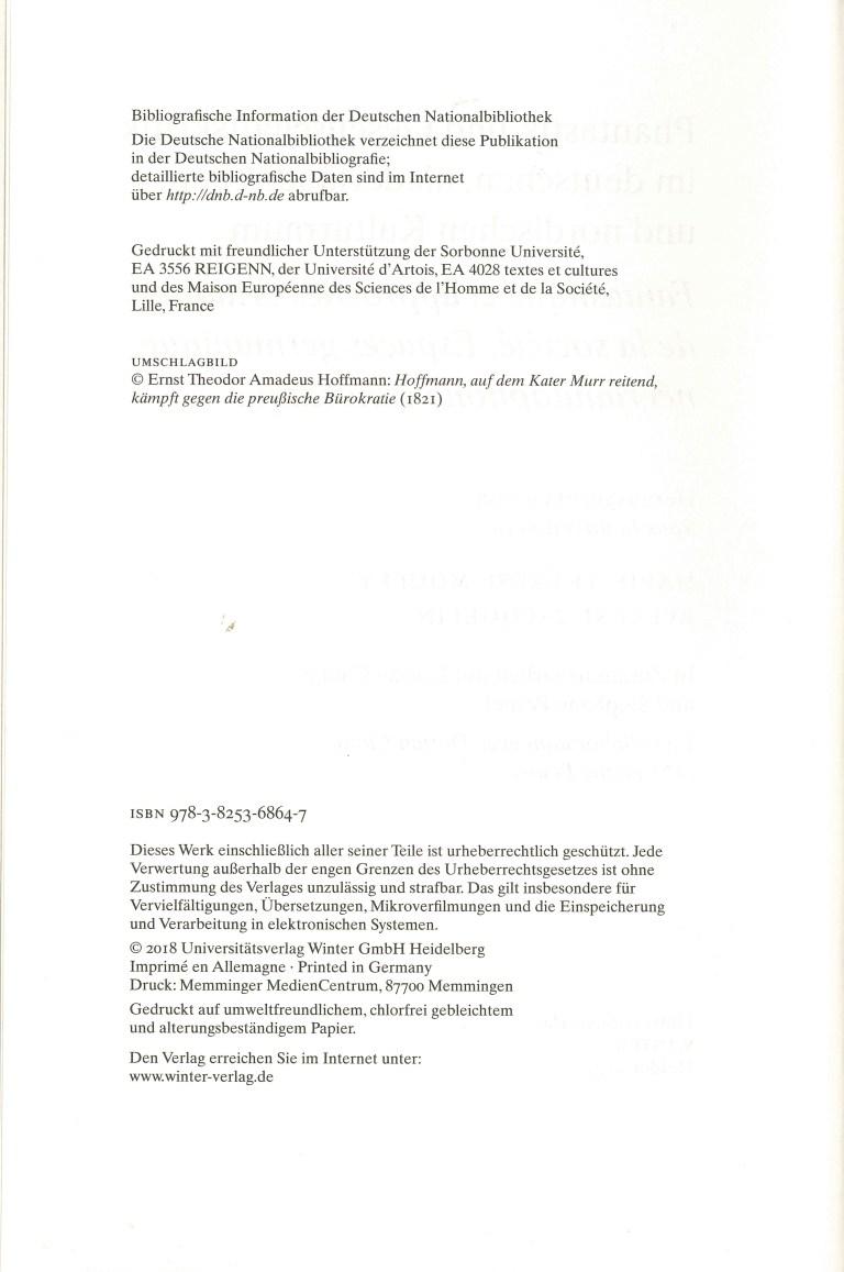 Phantastik und Gesellschaftskritik im deutschen, niederländischen und nordischen Kulturraum - Impressum