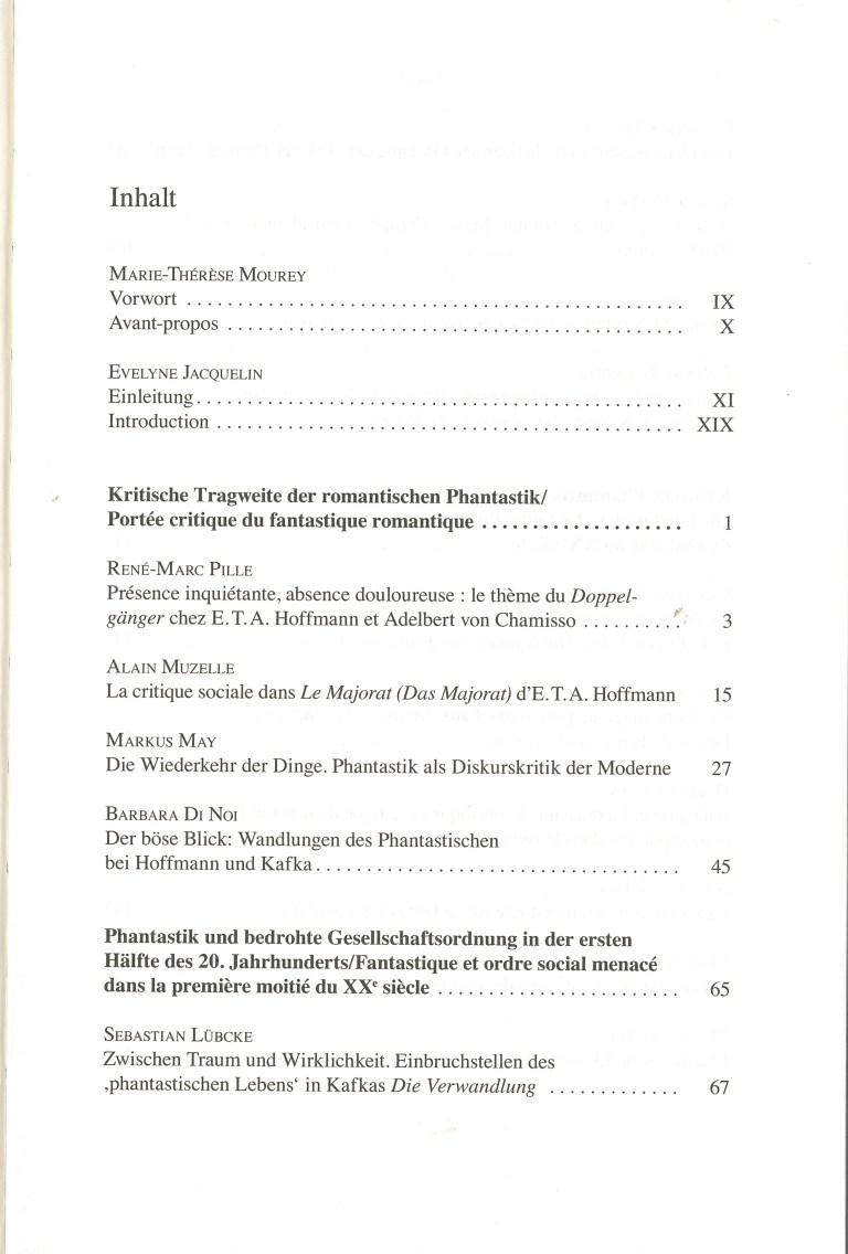Phantastik und Gesellschaftskritik im deutschen, niederländischen und nordischen Kulturraum - Inhalt Seite 1