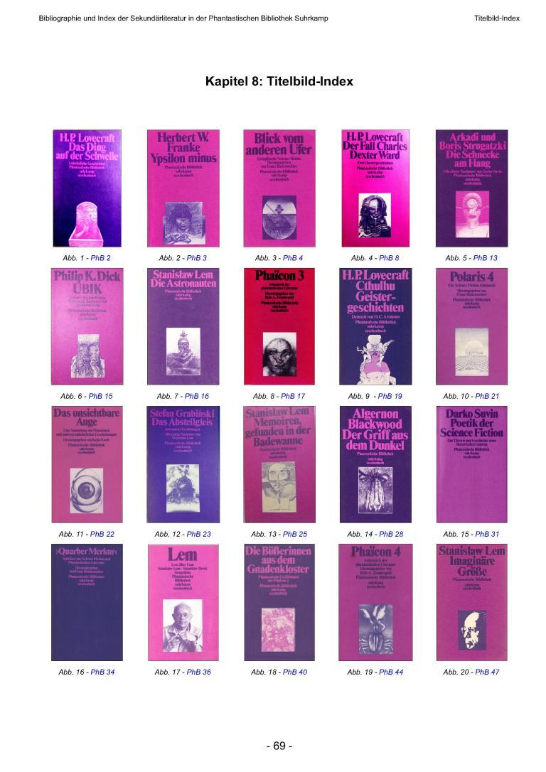 Bibliographie und Index der Sekundärliteratur der Phantastischen Bibliothek Suhrkamp, Version 1.0 - Titelbildindex