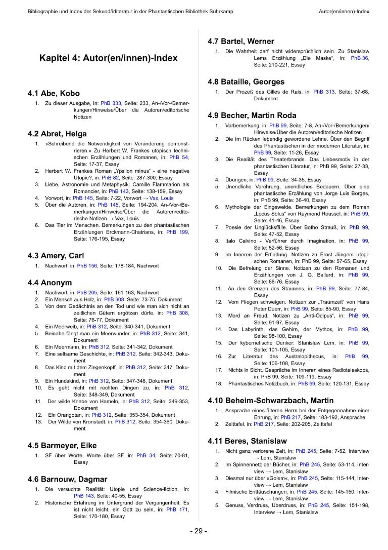 Bibliographie und Index der Sekundärliteratur der Phantastischen Bibliothek Suhrkamp, Version 1.0 - Autorenindex