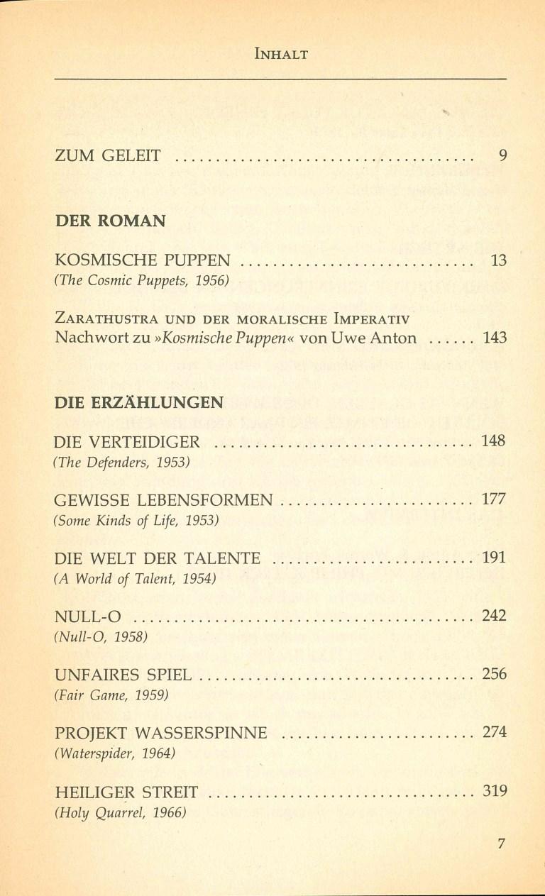 Kosmische Puppen und andere Lebensformen - Inhaltsverzeichnis Seite 1