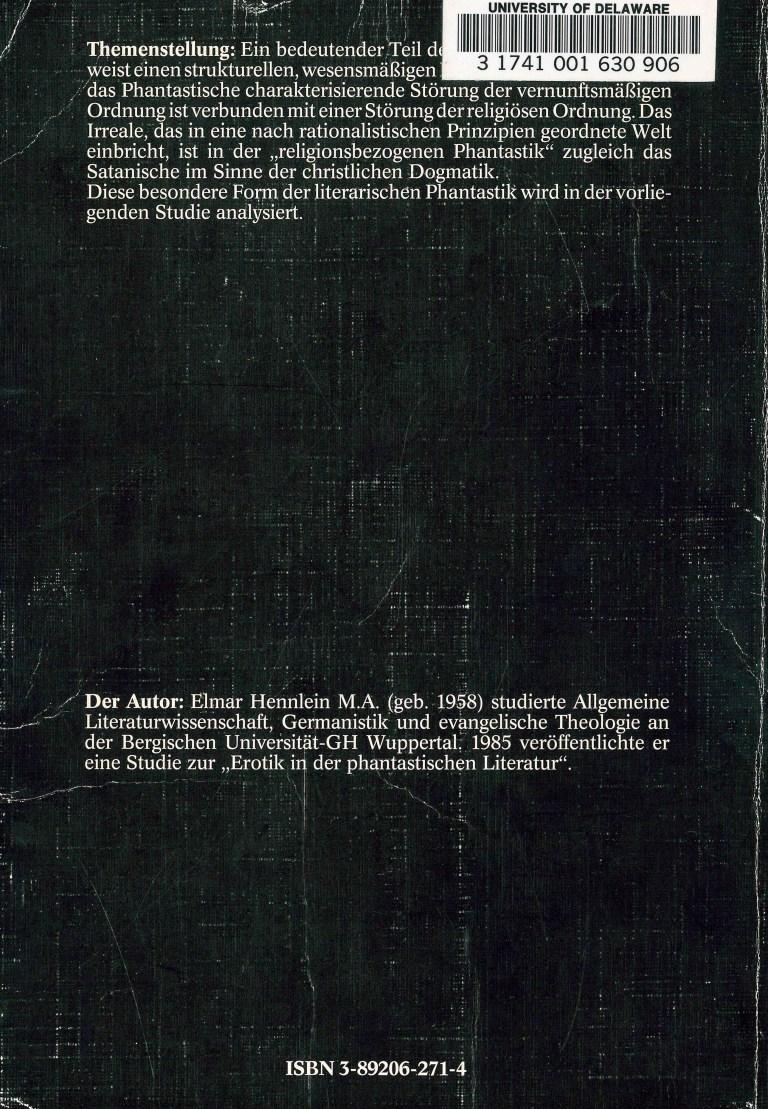 Religion und Phantastik - Rückencover