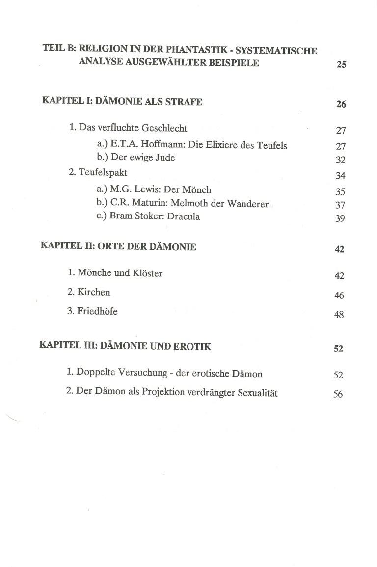Religion und Phantastik - Inhalt Seite 2