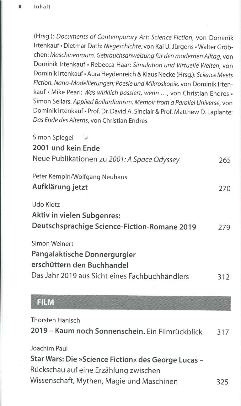 Das Science Fiction Jahr 2020 - Inhalt Seite 4