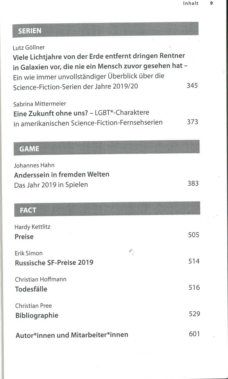 Das Science Fiction Jahr 2020 - Inhalt Seite 5