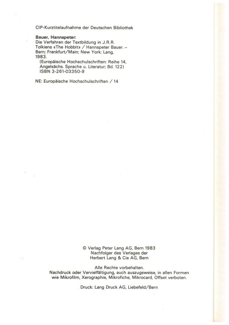 """Die Verfahren der Textbildung in J.R.R. Tolkiens """"The Hobbit"""" - Impressum"""