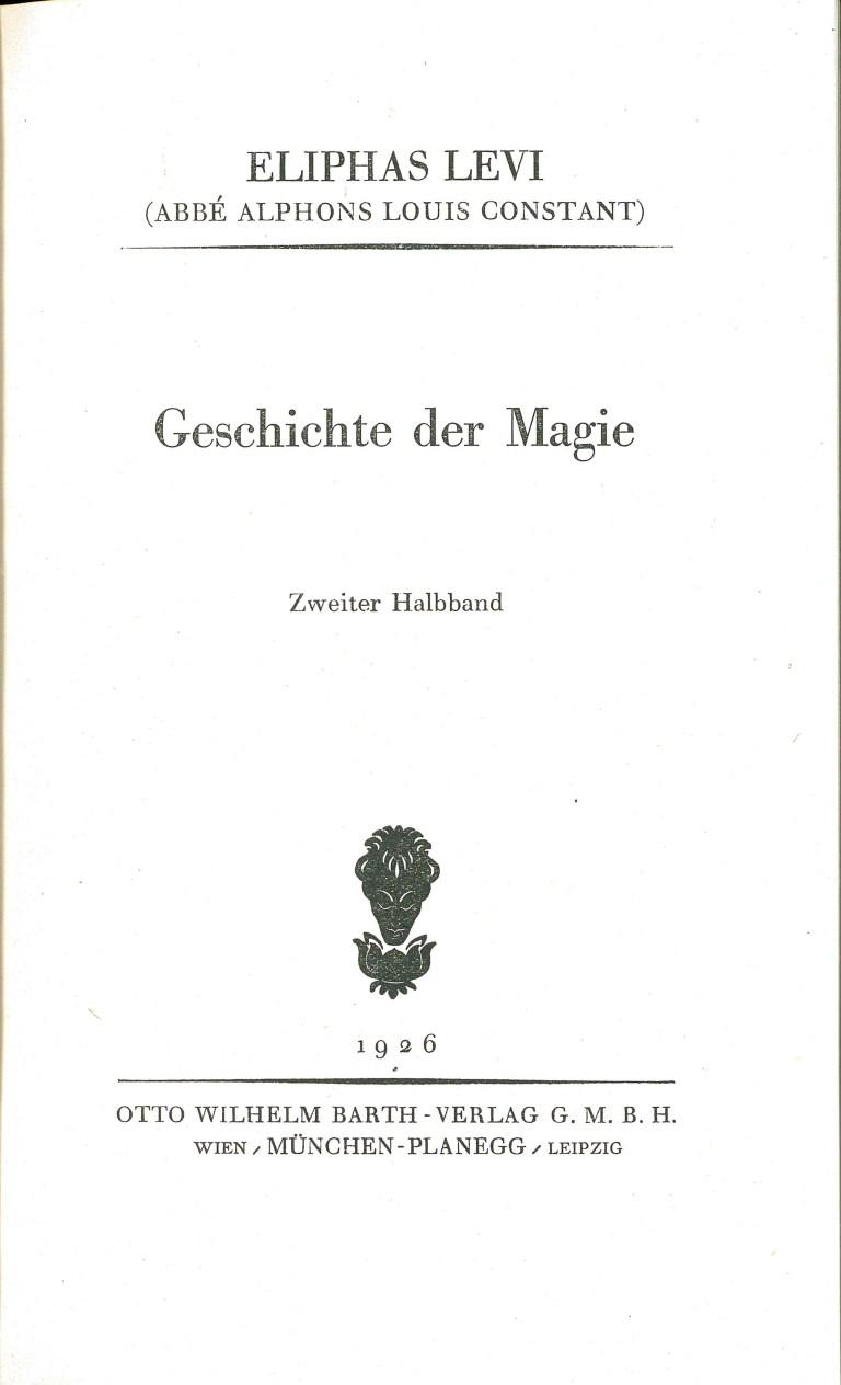 Geschichte der Magie 1926 - Deckblatt Band 2