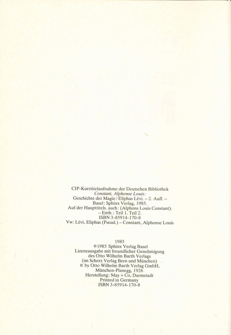 Geschichte der Magie 1985 - Impressum